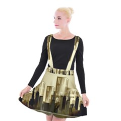 Architecture City House Suspender Skater Skirt