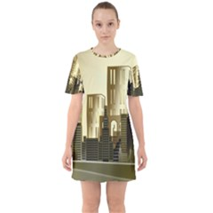 Architecture City House Sixties Short Sleeve Mini Dress