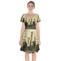 Architecture City House Short Sleeve Bardot Dress