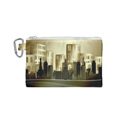 Architecture City House Canvas Cosmetic Bag (small)