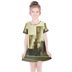 Architecture City House Kids  Simple Cotton Dress