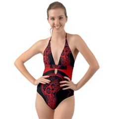 Artificial Intelligence Brain Think Halter Cut Out One Piece Swimsuit