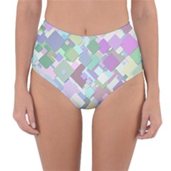 Colorful Background Multicolored Reversible High Waist Bikini Bottoms