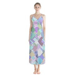 Colorful Background Multicolored Button Up Chiffon Maxi Dress