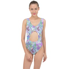 Colorful Background Multicolored Center Cut Out Swimsuit