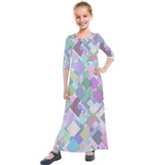 Colorful Background Multicolored Kids  Quarter Sleeve Maxi Dress