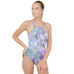 Colorful Background Multicolored High Neck One Piece Swimsuit