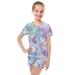 Colorful Background Multicolored Kids  Mesh Tee And Shorts Set