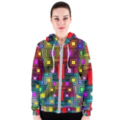 Art Rectangles Abstract Modern Art Women s Zipper Hoodie