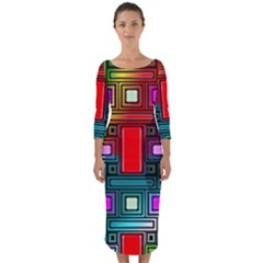 Art Rectangles Abstract Modern Art Quarter Sleeve Midi Bodycon Dress