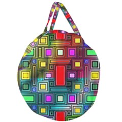 Art Rectangles Abstract Modern Art Giant Round Zipper Tote