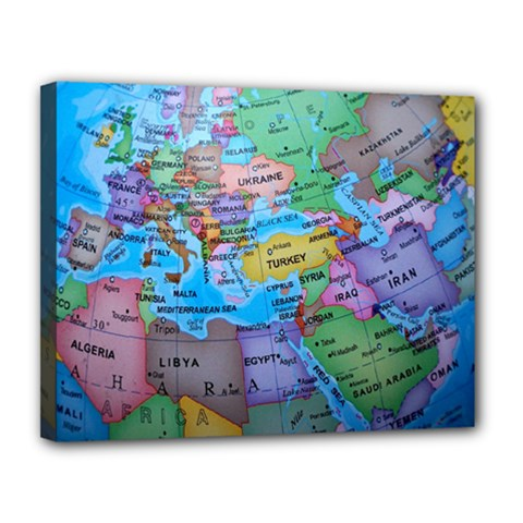 Globe World Map Maps Europe Canvas 14  X 11  (stretched)