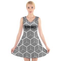 Cube Pattern Cube Seamless Repeat V Neck Sleeveless Dress