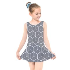 Cube Pattern Cube Seamless Repeat Kids  Skater Dress Swimsuit