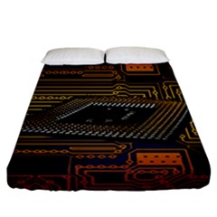 Processor Cpu Board Circuits Fitted Sheet (california King Size) by Samandel