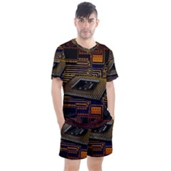 Processor Cpu Board Circuits Men s Mesh Tee And Shorts Set by Samandel