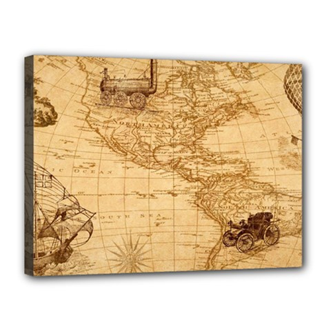 Map Discovery America Ship Train Canvas 16  X 12  (stretched) by Samandel