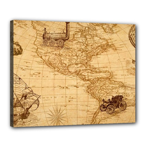 Map Discovery America Ship Train Canvas 20  X 16  (stretched)
