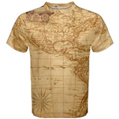 Map Discovery America Ship Train Men s Cotton Tee