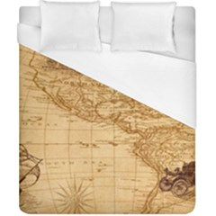 Map Discovery America Ship Train Duvet Cover (california King Size)