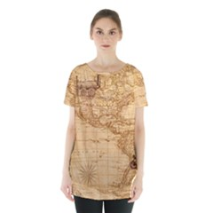 Map Discovery America Ship Train Skirt Hem Sports Top