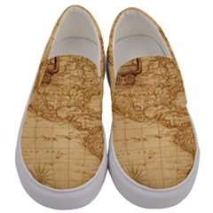 Map Discovery America Ship Train Men s Canvas Slip Ons
