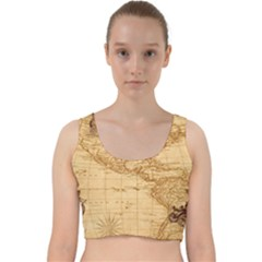 Map Discovery America Ship Train Velvet Racer Back Crop Top