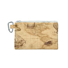 Map Discovery America Ship Train Canvas Cosmetic Bag (small)