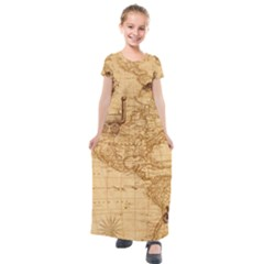 Map Discovery America Ship Train Kids  Short Sleeve Maxi Dress