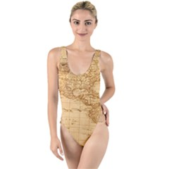 Map Discovery America Ship Train High Leg Strappy Swimsuit