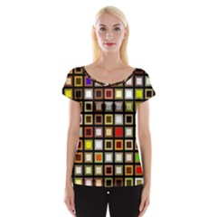 Squares Colorful Texture Modern Art Cap Sleeve Top by Samandel
