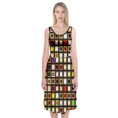 Squares Colorful Texture Modern Art Midi Sleeveless Dress by Samandel