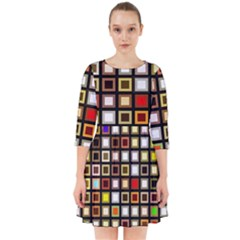 Squares Colorful Texture Modern Art Smock Dress by Samandel