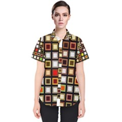Squares Colorful Texture Modern Art Women s Short Sleeve Shirt