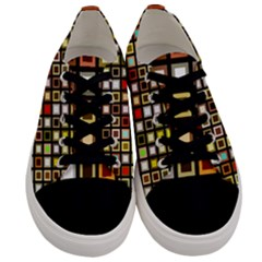 Squares Colorful Texture Modern Art Men s Low Top Canvas Sneakers