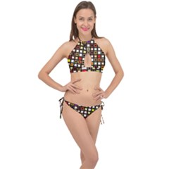 Squares Colorful Texture Modern Art Cross Front Halter Bikini Set