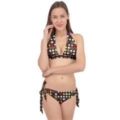 Squares Colorful Texture Modern Art Tie It Up Bikini Set by Samandel