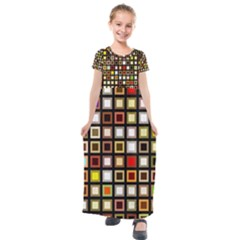 Squares Colorful Texture Modern Art Kids  Short Sleeve Maxi Dress