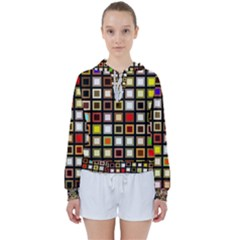 Squares Colorful Texture Modern Art Women s Tie Up Sweat