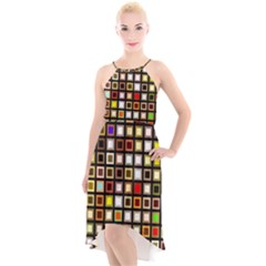 Squares Colorful Texture Modern Art High Low Halter Chiffon Dress