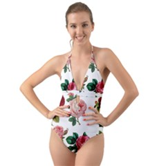 Roses 1770165 1920 Halter Cut-out One Piece Swimsuit by vintage2030