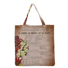 Letter Floral Grocery Tote Bag by vintage2030
