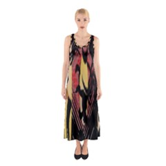 Red Black And Gold Decorative Design By Flipstylez Designs  Sleeveless Maxi Dress