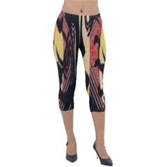 Red Black And Gold Decorative Design By Flipstylez Designs  Lightweight Velour Capri Leggings