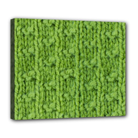 Knitted Wool Chain Green Deluxe Canvas 24  X 20  (stretched)