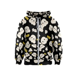 Cute Kawaii Popcorn Pattern Kids  Zipper Hoodie by Valentinaart