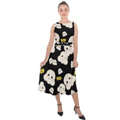 Cute Kawaii Popcorn Pattern Midi Tie Back Chiffon Dress by Valentinaart