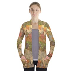 Autumn Leaves In Vermont Open Front Pocket Cardigan