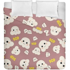 Cute Kawaii Popcorn Pattern Duvet Cover Double Side (king Size) by Valentinaart