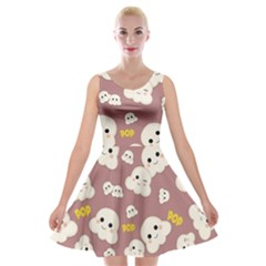 Cute Kawaii Popcorn Pattern Velvet Skater Dress